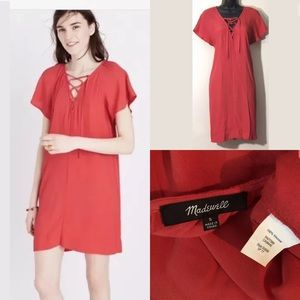 Madewell S red lace-up flutter sleeve dress